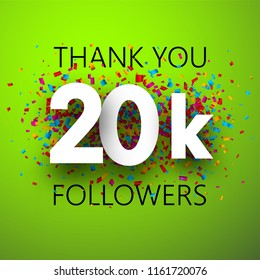 Thank you, 20k followers. Card with colorful confetti for social network. Vector background.