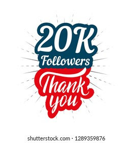 Thank you 20K followers card for celebrating many followers in social network