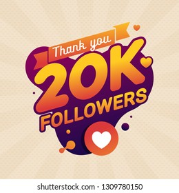 Thank you 20K followers congratulation banner and card. Celebrating a large number of subscribers