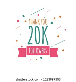 Thank you 20k followers design template. Vector eps 10