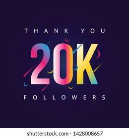 Thank you 20k Followers design template vector illustration