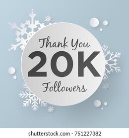 Thank You 20K Followers Design Template, Paper Art Style.