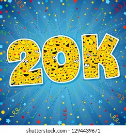 Thank you 20K logotype. Congratulating bright 20.000 networking thanks, net friends abstract new image, 20000k cute sign, people digits. Isolated smiling years old, lol symbol. Graphic design template