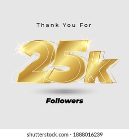 Thank you for 25K followers 3D gold logo isolated on elegant background, vector design for celebration purpose