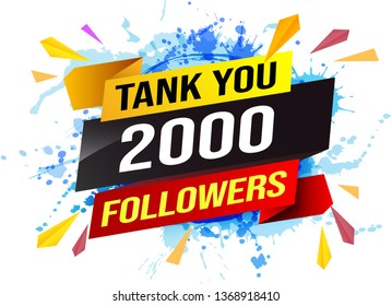 thank you 2k 2000 followers tag. Banner design template for marketing. Last chance promotion or retail. background banner modern graphic design  for store shop, online store, website, landing page