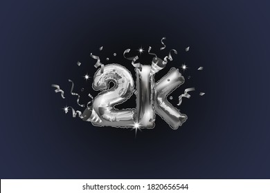 Thank you 2K or 2K subscribers. Vector illustration with silver shiny balls and confetti for friends on social networks, web users on a dark background. Thank you, celebrate subscribers, likes.