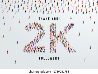 Thank you, 2k or two thousand followers celebration design. Large group of people form to create a shape 2k. Vector illustration.