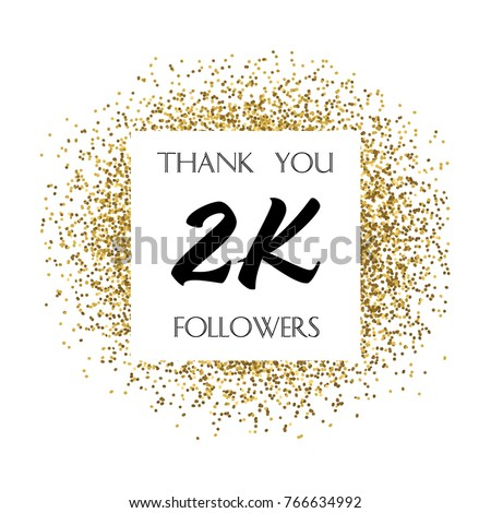 Thank You 2 K Two Thousand Followers Stock Vector Royalty Free