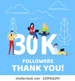 Thank you 30000 followers numbers postcard. People man, woman big numbers flat style design 30k thanks vector illustration isolated on blue background. Template for internet media and social network.
