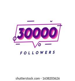 Thank You 30000 Followers template design. Vector Eps 10