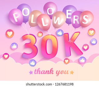 Thank you 30K followers banner. Thanks followers congratulation card. Vector illustration for Social Networks. Web user or blogger celebrates and tweets a large number of subscribers.