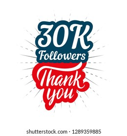 Thank you 30K followers card for celebrating many followers in social network
