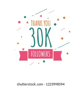Thank you 30k followers design template. Vector eps 10