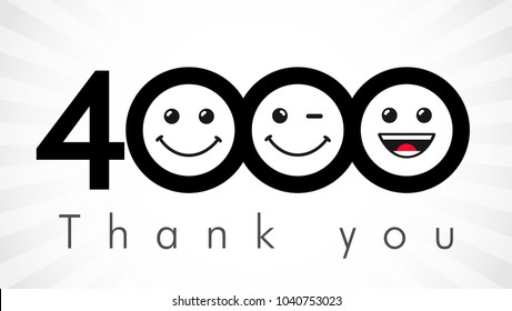 Thank you 4000 followers numbers. Congratulating black and white thanks, image for net friends in two 2 colors, customers likes, % percent off discount. Round isolated emoji smiling people faces.