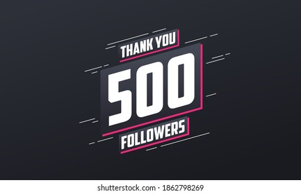 Thank you 500 followers, Greeting card template for social networks.