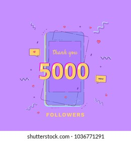 Thank you 5000 followers vivid card. Template for Social Network. Post of 5K subscribers. Vector illustration.
