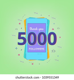 Thank you 5000 followers vivid card. 5K followers message for post. Template for Social Network. Vector illustration.