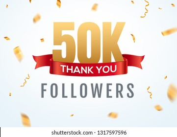 Thank you 50000 followers design template social network number anniversary. Social 50k users golden number friends thousand celebration.