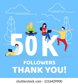 Thank you 50000 followers numbers postcard. People man, woman big numbers flat style design 50k thanks vector illustration isolated on blue background. Template for internet media and social network.