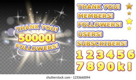 Thank you 50000 followers vector banner for social media networking, blogs. 50K followers thank you congratulation post.