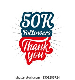 Thank you 50K followers card for celebrating many followers in social network