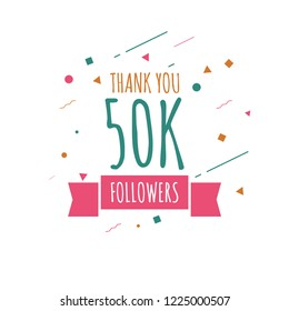 Thank you 50k followers design template. Vector eps 10