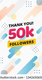Thank you 50k followers story post background template design. flyer banner for celebrating many followers in online social media platform. Modern abstract vector style.