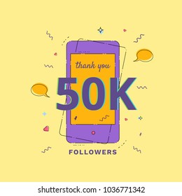 Thank you 50K followers vivid card. Template for Social Network. Post for subscribers. Vector illustration.