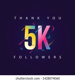 Thank you 5k Followers design template vector illustration