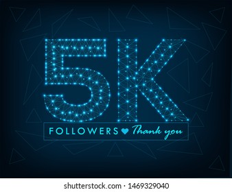 Thank you 5K followers design.Thank you followers congratulation card. Vector illustration for Social Networks. Web user or blogger celebrates a large number of subscribers. - Vector