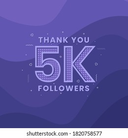 Thank you 5K followers, Greeting card template for social networks.
