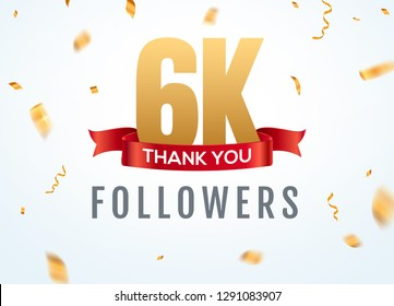 Thank you 6000 followers design template social network number anniversary. Social 6k users golden number friends thousand celebration.
