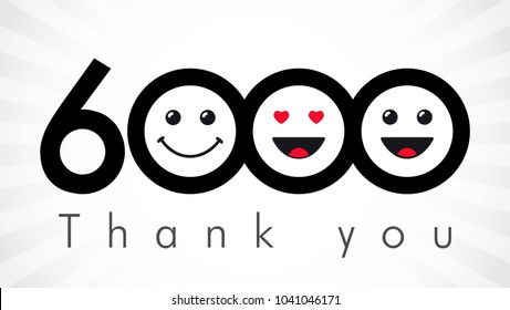 Thank you 6000 followers numbers. Congratulating black and white thanks, image for net friends in two 2 colors, customers likes, % percent off discount. Round isolated emoji smiling people faces.