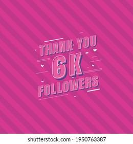 Thank you 6k Followers celebration, Greeting card for 6000 social followers.