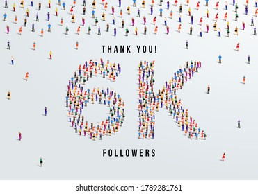Thank you, 6k or six thousand followers celebration design. Large group of people form to create a shape 6k. Vector illustration.