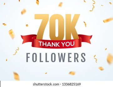 Thank you 70000 followers design template social network number anniversary. Social 70k users golden number friends thousand celebration.