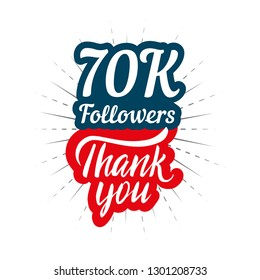 Thank you 70K followers card for celebrating many followers in social network