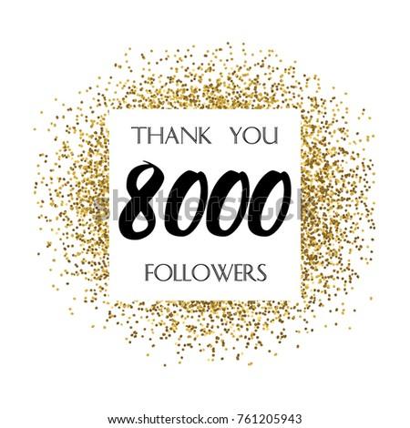thank you 8 000 followers social stock vector royalty free