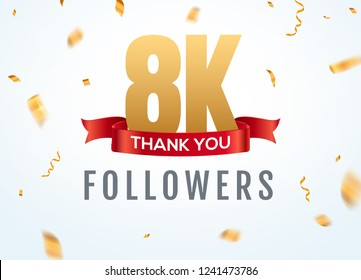 Thank you 8000 followers design template social network number anniversary. Social 2k users golden number friends thousand celebration.