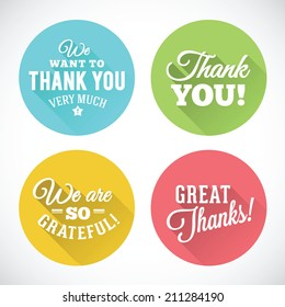 Thank You Abstract Vector Flat Style Badges or Icons Isolated
