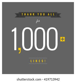 Thank You All For 1,000 Likes (Vector Design Template)