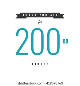 Thank You All For 200 Likes (Vector Design Template)