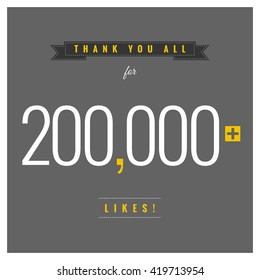 Thank You All For 200,000 Likes (Vector Design Template)