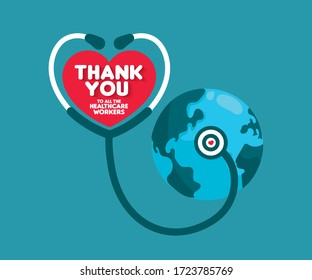 Thank You to all the healthcare workers. Thank you doctors and Nurses and medical personnel team for fighting the coronavirus. Thank you heroes. Save earth concept.