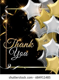Thank You background with silver and gold star shaped balloons. Vector illustration.Wallpaper.flyers, invitation, posters, brochure, banners