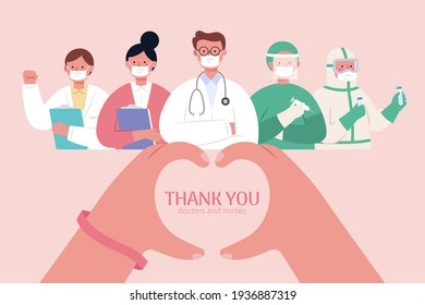 Thank you banner for doctors, nurses and other medical workers who protect and take care of us during COVID 19 pandemic. Finger making a heart shape. Flat style illustration.