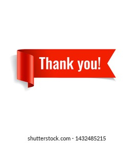 Thank you banner. Red paper twisted ribbon. Vector illustration