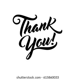 Thank you beautiful lettering isolated text vector illustration. Thank You! greeting card for presentation slide.