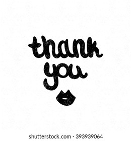 Thank you. Black and white lettering. Decorative letter. Hand drawn lettering. Quote. Vector hand-painted illustration. Decorative inscription. Modern Brushed Lettering. Vintage illustration. Kiss.