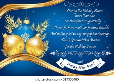 Greeting card for clients images stock photos vectors shutterstock thank you blue business greeting card for the end of the year contains a thank m4hsunfo